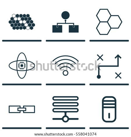 Set Of 9 Artificial Intelligence Icons. Includes Related Information, Solution, Wireless Communications And Other Symbols. Beautiful Design Elements.