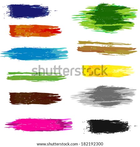 Set of artistic colorful brush grunge lines. Vector
