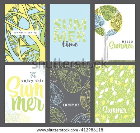 Set of artistic creative summer cards. Design for poster, card, invitation, placard, brochure, flyer. Vector. Nice color. - stock vector