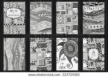 Set artistically cards ethnic patterns a4 stock vector 2018