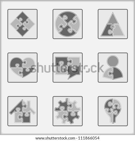 Set of asbtract simple puzzle icons, vector eps10 illustration - stock vector