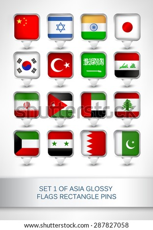Set 1 of Asia glossy flags rectangle pins, map pointer for maps,navigation application or website. - stock vector