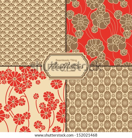 set of asia-inspired floral patterns (tiles saved to the colors/patterns palette - stock vector