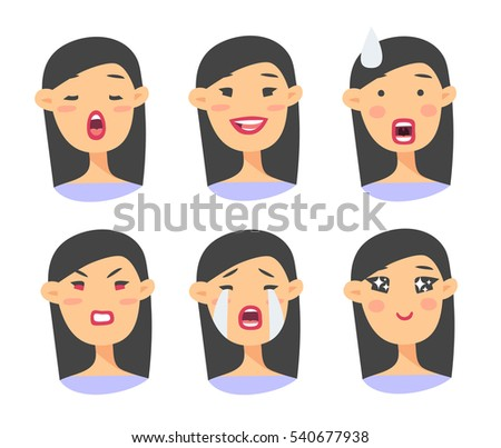 set asian emoji character cartoon style vectores en stock hair vector image hair vector silhouette