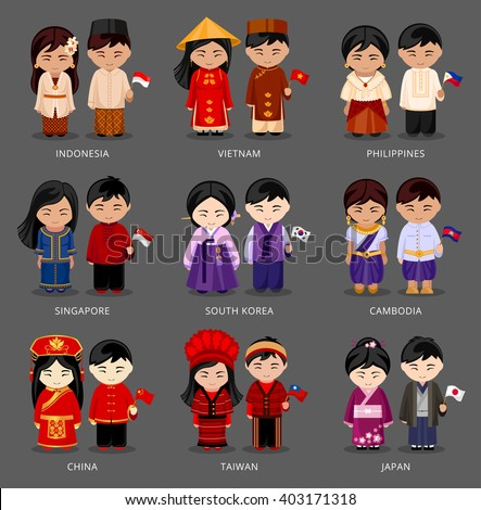 Set of asian pairs dressed in different national costumes. Woman and man with flag. Indonesia, Vietnam, the Philippines, Singapore, Korea, Cambodia, China, Taiwan, Japan. Vector illustration. - stock vector