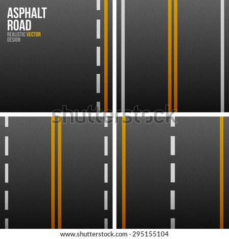 Set of asphalt road textures with white and yellow stripes - stock vector