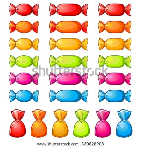 Set of assorted colorful wrapped candies isolated over white - stock vector