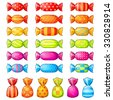 Set of assorted festive wrapped candies isolated over white - stock vector
