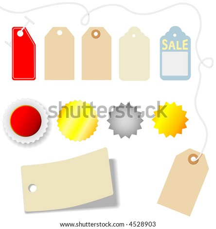 Set of assorted price tags and stickers on white. - stock vector