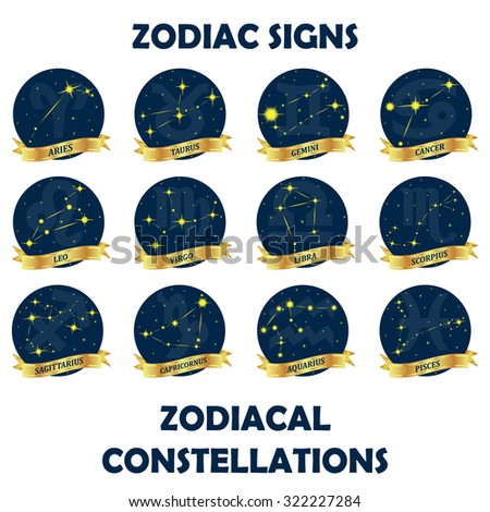 Set of astrological signs. Zodiac signs and zodiacal constellations. - stock vector