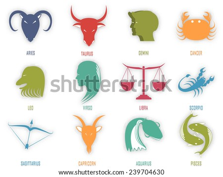 Set of astrological Zodiac symbol, Horoscope sign on white background.