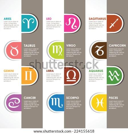 Set of astrological zodiac symbols.Horoscope signs, modern design - stock vector