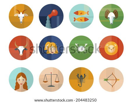 Set of Astrological Zodiac Symbols. Horoscope Signs. Modern Flat Design. - stock vector