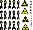 set of atomic bombs and radiation signs - stock photo