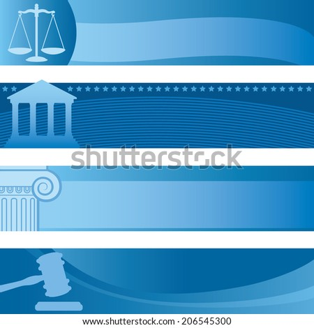 Set of Attorney Themed Horizontal Banners - stock vector