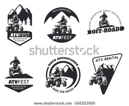 Set of ATV emblems, badges and icons. All-terrain vehicle off-road design elements. - stock vector