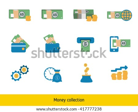 Set of Australian dollar. Banknote and coin of Australian dollar - stock vector