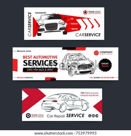 Set Auto Repair Service Banner Poster Stock Vector (Royalty Free ...