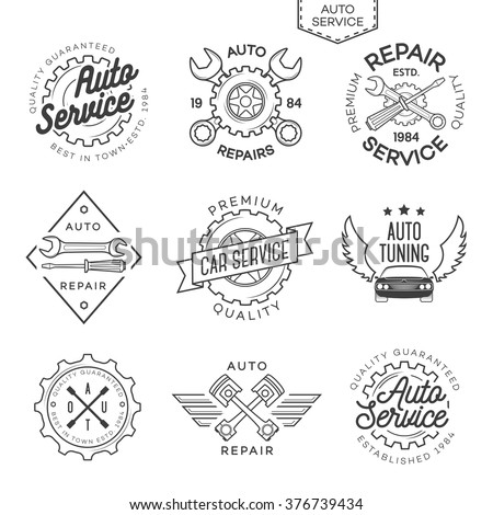 Set of auto service, repair and auto tuning labels isolated on white background. Stamps, banners and design elements for you business. Vector illustration - stock vector