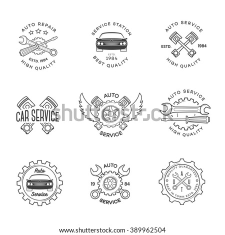 Set of auto service, repair labels black color isolated on white background. Stamps, banners and design elements for you business. Vector illustration - stock vector