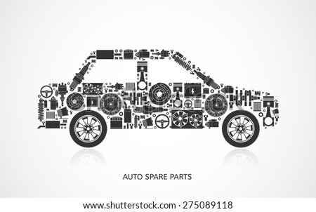 Set of auto spare parts. Car repair icons in flat style. Vector illustration EPS10. - stock vector