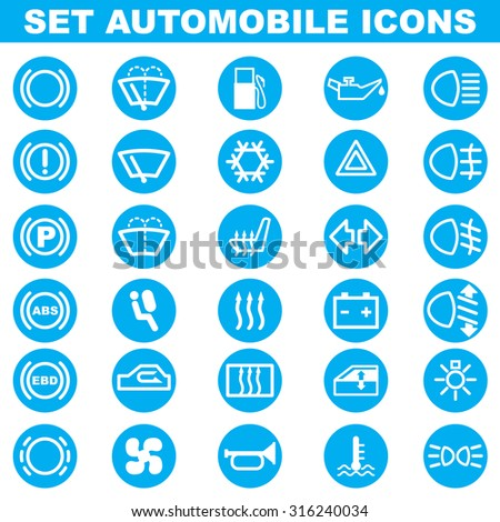 Set of automobile white icons in blue circle. - stock vector
