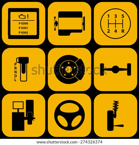 Set of automotive icons for car service - stock vector