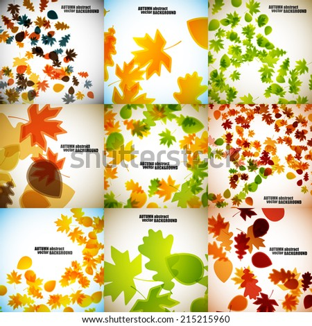 set of autumn backgrounds - stock vector