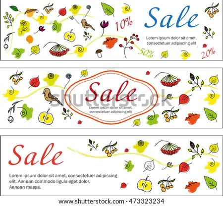 Set of autumn colored banners. Horizontal orientation. banner can be used for online web poster flyer