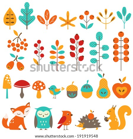 Set of autumn design elements. - stock vector