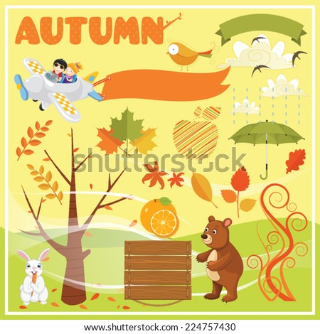 Set of Autumn Elements and Illustrations - stock vector