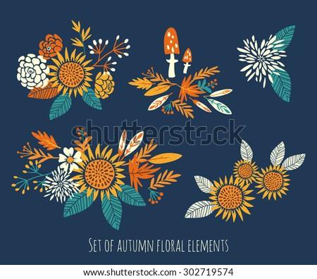 set of autumn floral elements - stock vector