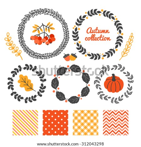 Set of autumn floral wreaths and seamless patterns - Polka Dot, Diagonal Stripes, Gingham and Chevron. Pumpkin, oak leaf, acorn, Rowan berries and branches. Perfect for greeting cards, invitations - stock vector