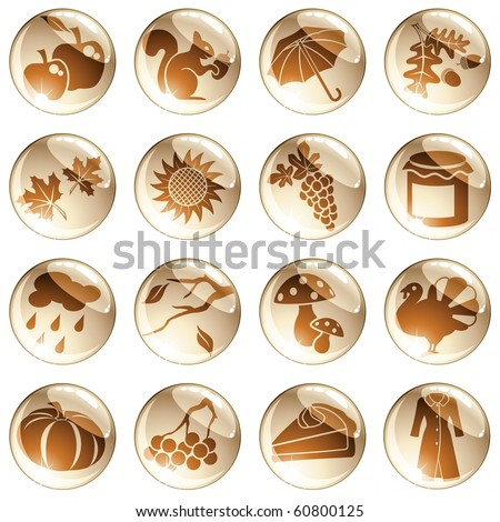 Set of autumn icons in cool tones (Eps10); jpg version also available - stock vector