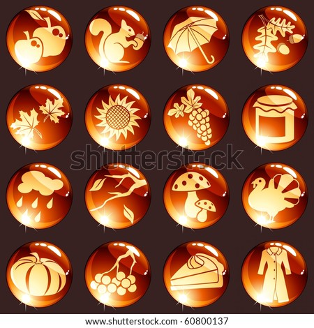 Set of autumn icons in warm tones (Eps10); jpg version also available - stock vector