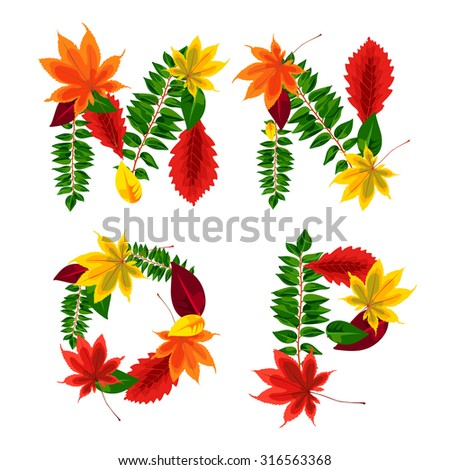 Set of autumn letters composed of beautiful red, yellow, green and orange leaves. Autumn alphabet. M, N, O, P. Set autumn letters. Letters from the leaves. - stock vector
