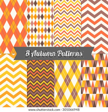 Set of Autumn Seamless Patterns with Harlequin, Chevron, Argyle and Triangles in Yellow, Orange, Deep Orange, Brown and White. Perfect for wallpapers, pattern fill, background, textile, greeting cards - stock vector