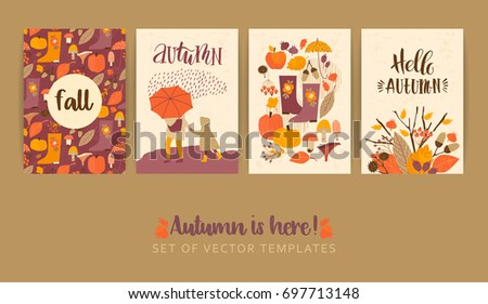 Set of autumn templates. Vector design for card, poster, flyer, web and other users. Trendy hand drawn textures.