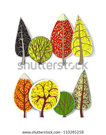 set of autumn trees (paper stickers) - stock vector