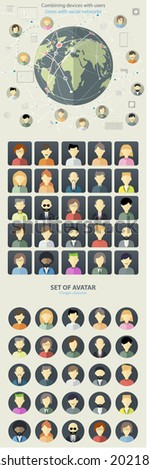 Set of avatar flat design icons. Flat design concept for social network. Concepts for web banners and printed materials. - stock vector