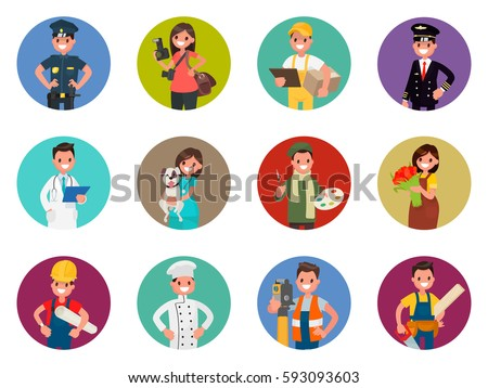 Set of avatars characters of different professions:  policeman, photographer, courier, pilot, doctor and others. Vector illustration in a flat style