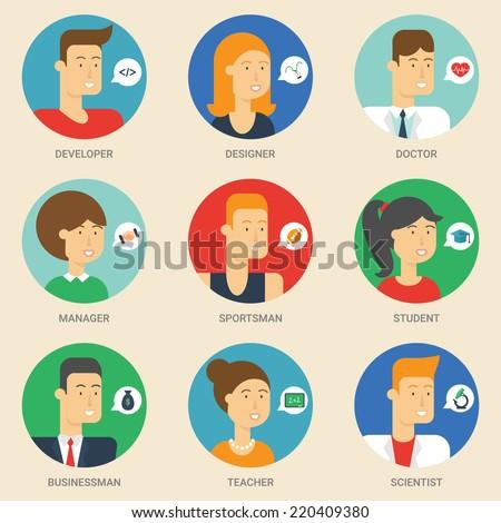 Set of avatars: designer, teacher, scientist, sportsman, businessman, student, developer, manager, doctor. Vector illustration, flat icons. Characters for web  - stock vector