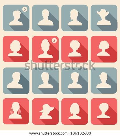 Set of avatars. Flat design. - stock vector