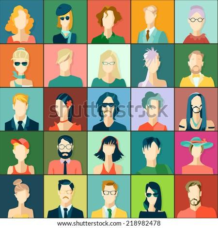 Set of avatars, flat design - stock vector