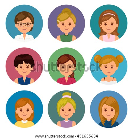 Set of avatars girls with different hairstyles. Collection icons cartoon female avatar for profile. Isolated women avatars for ui and web design.