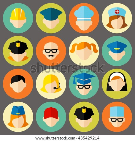 Set of avatars people icons. Flat style vector icons set Occupation avatars in colorful style. Flat Design Professional People Avatar Icon Set.   - stock vector