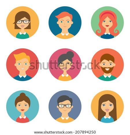 Set of avatars. Vector illustration, flat icons. Characters for web - stock vector