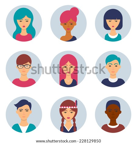 Set of avatars. Vector illustration, flat icons. Male and female characters for web  - stock vector