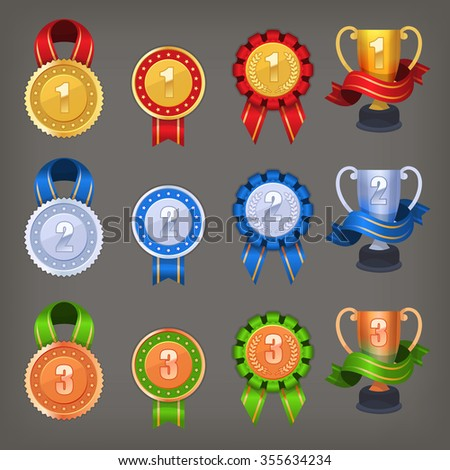 Set of awards and trophies for contest winners and champions - stock vector