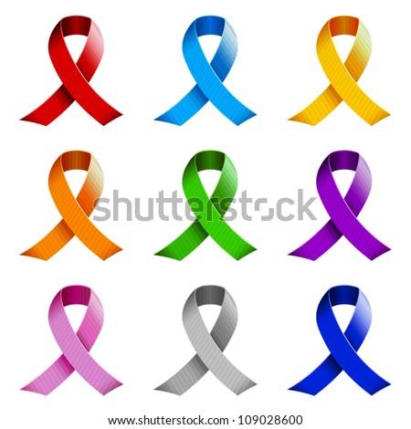Set of awareness ribbons. - stock vector